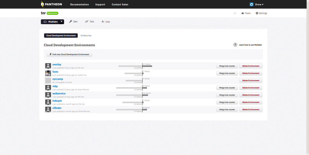 image of the control panel for pantheon multidev sites
