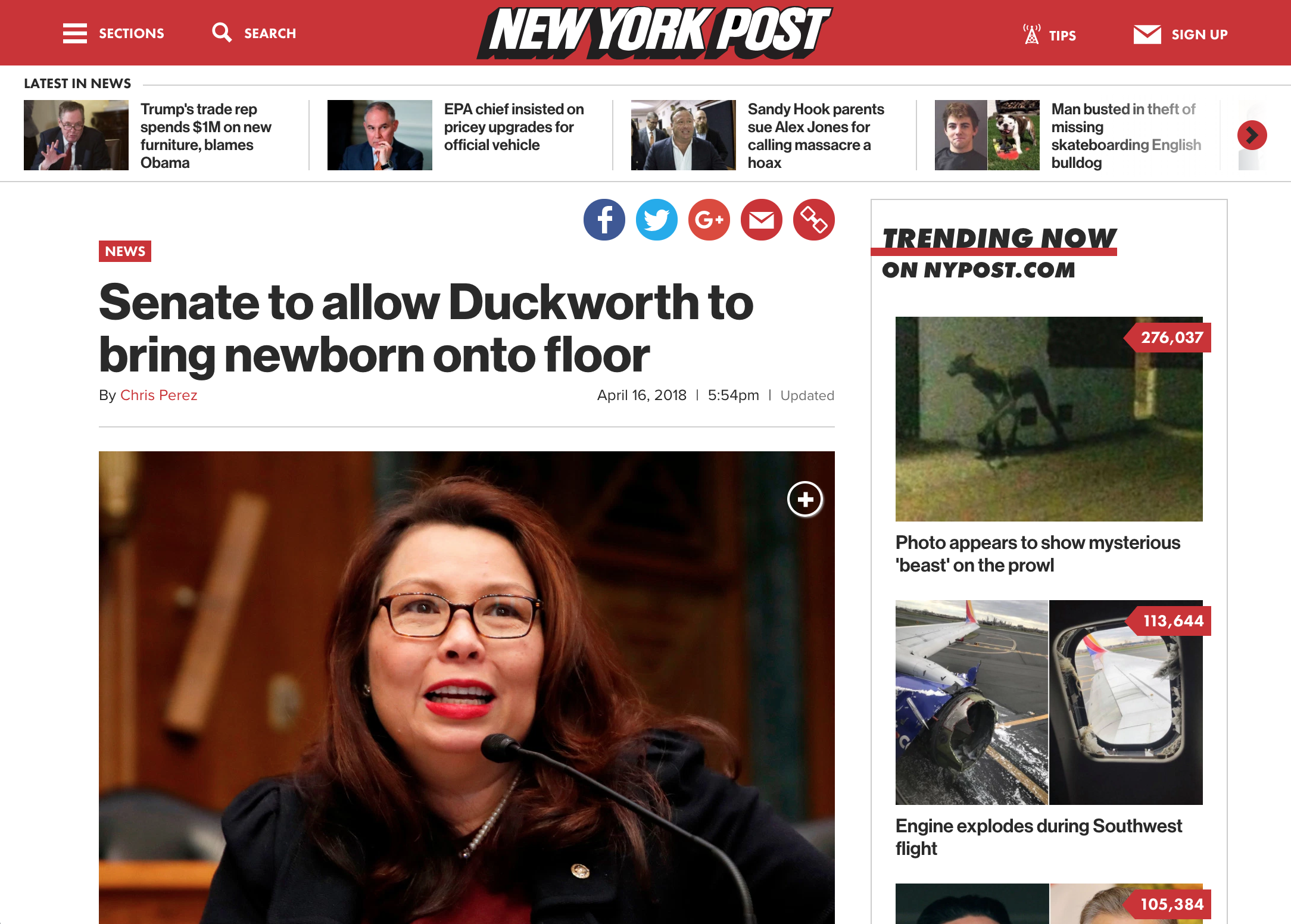 The main page of the New York Post with navigation, featured article, and additional content