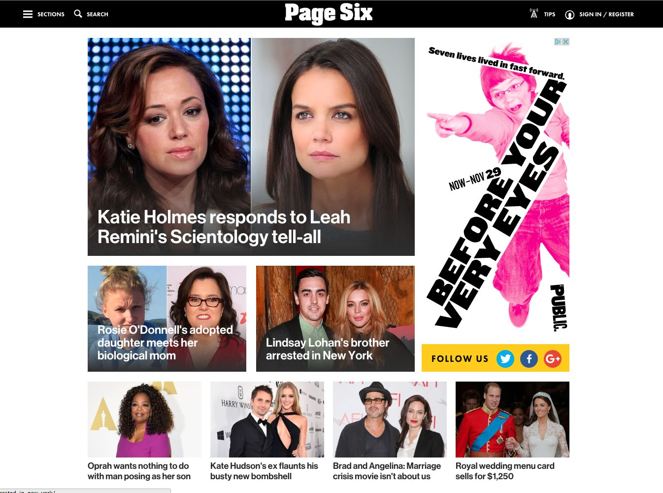screen shot of the page six section of the new york post featuring pop culture news stories with large featured images and titles