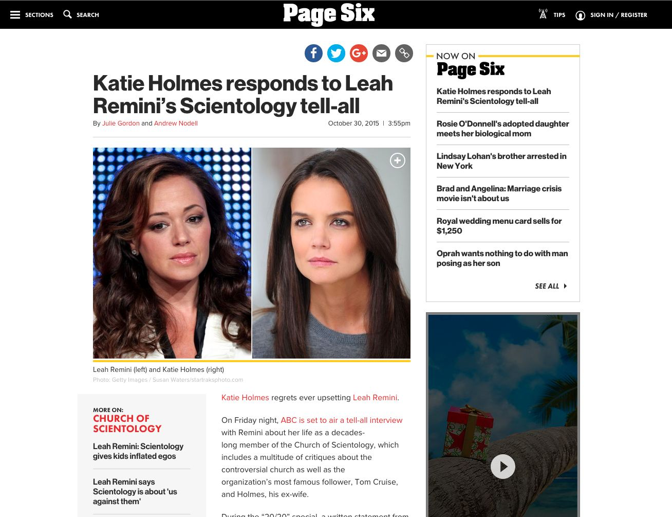 screen shot of a page six featured article with a large image and text to show what the site looks like