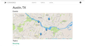 """A map of Austin titled """"Events"""" with four blue pins at various locations. The beginning of a list of links entitled """"Topics"""" is below, but only the first, """"Recycling,"""" is visible"""