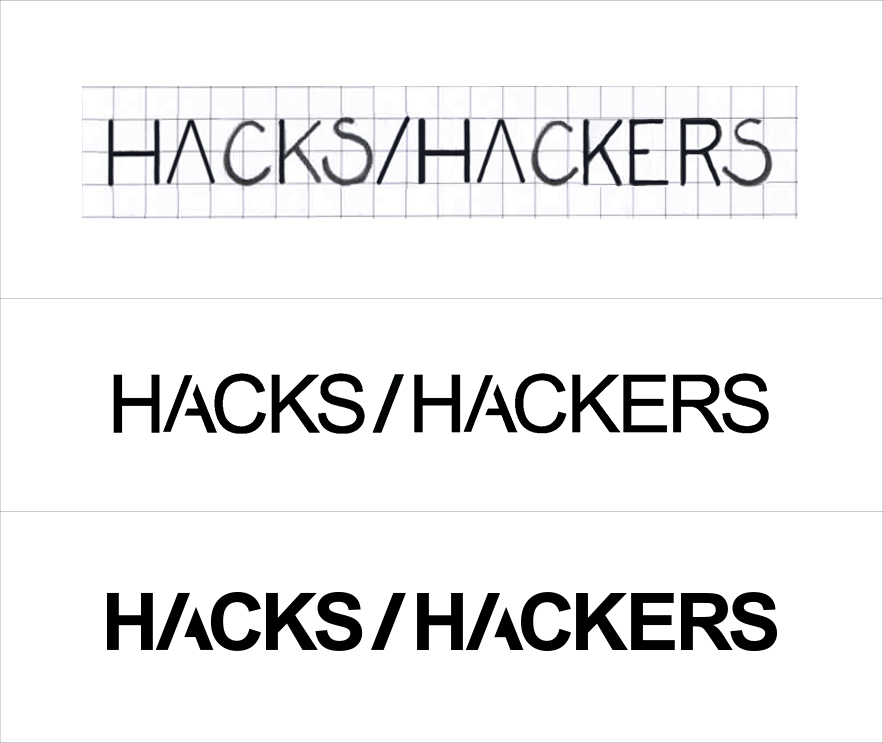 Three versions of the Hacks / Hackers logo, from drawn sketch to digital preview to final image