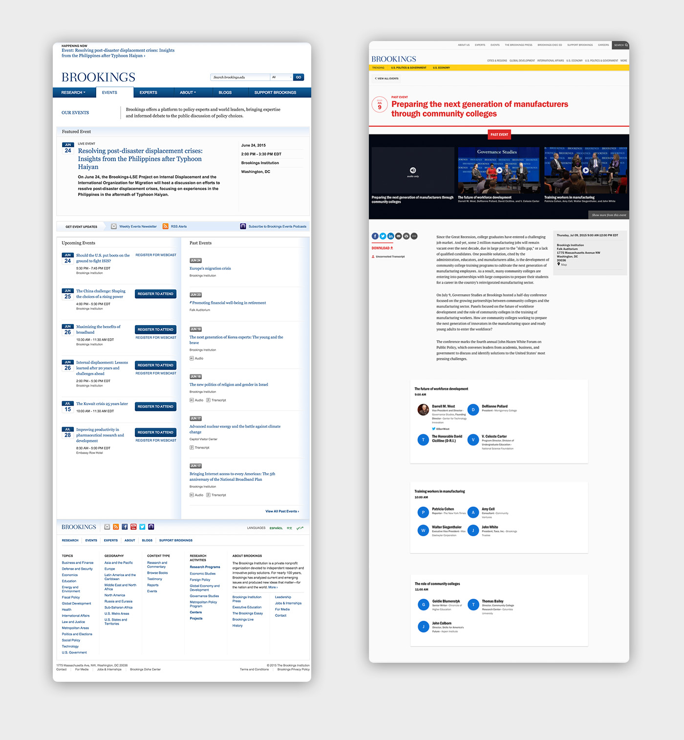 A before and after of another set of content, primarily blue text links and buttons on the left and  on the right, multiple images and longer paragraph text and social share buttons