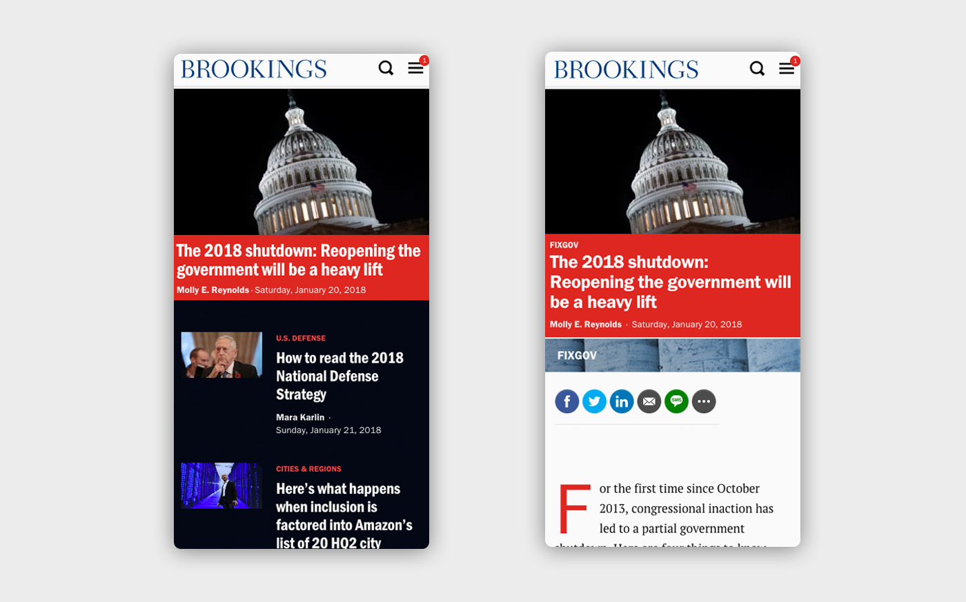 Mobile views of the Brookings site - on the left, the home page with images and headlines, and on the right a single article view also with an image and headline in red