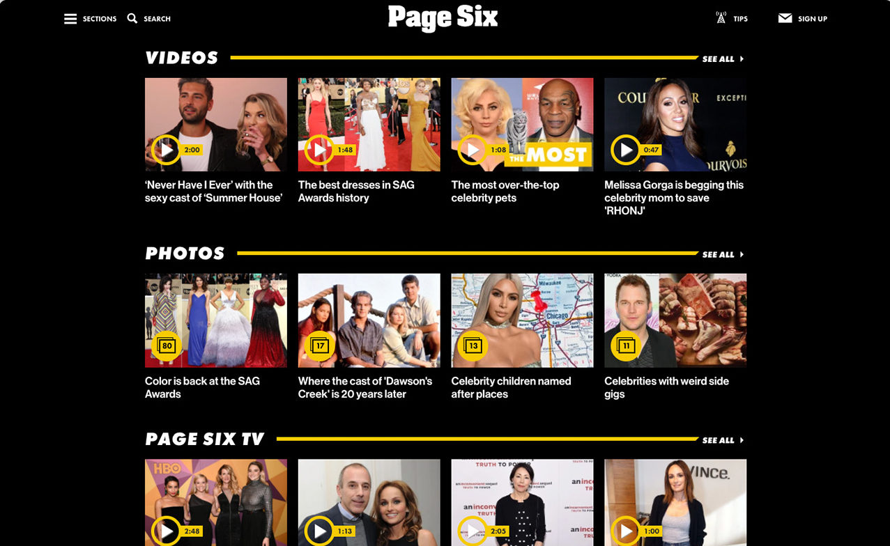 The front page of Page Six with large thumbnails of video content arranged under the categories of Videos, Photos, and Page Six TV, arrayed on a black background