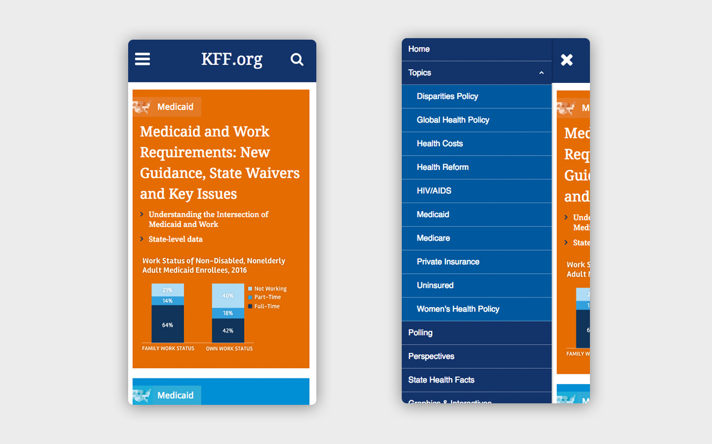 Two views of the mobile site, one displaying the presentation of the home page with a large orange block housing an article, and the other showing the navigation menu with multiple topics in white text on blue