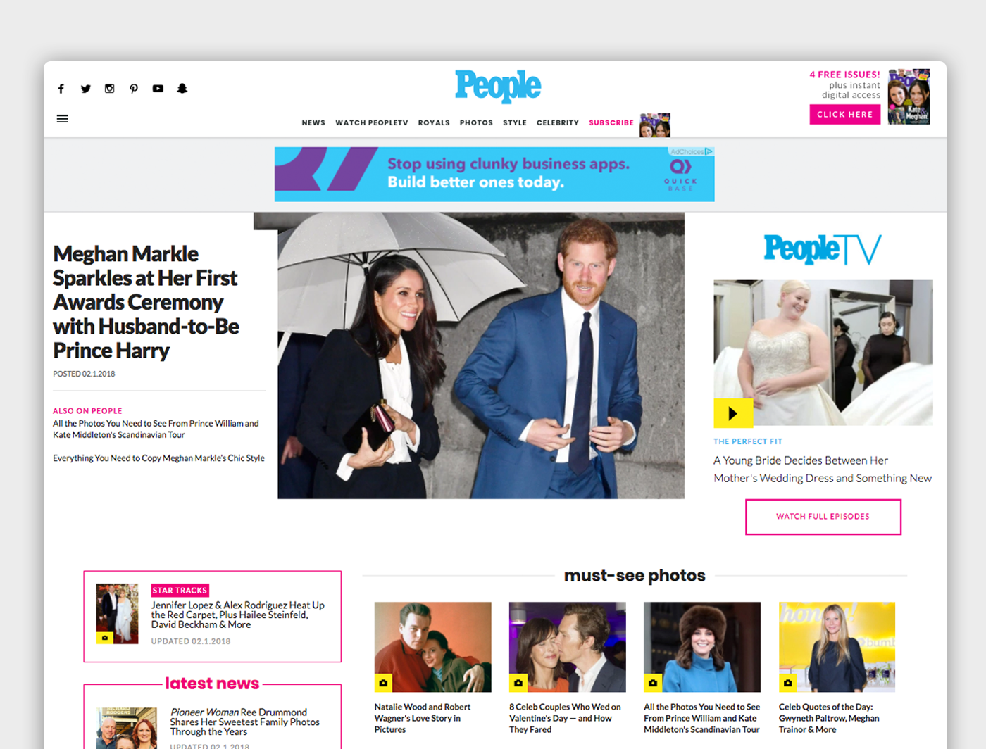 The People front page with navigation, a featured article, and various other features such as PeopleTV, must-see photos, and latest news
