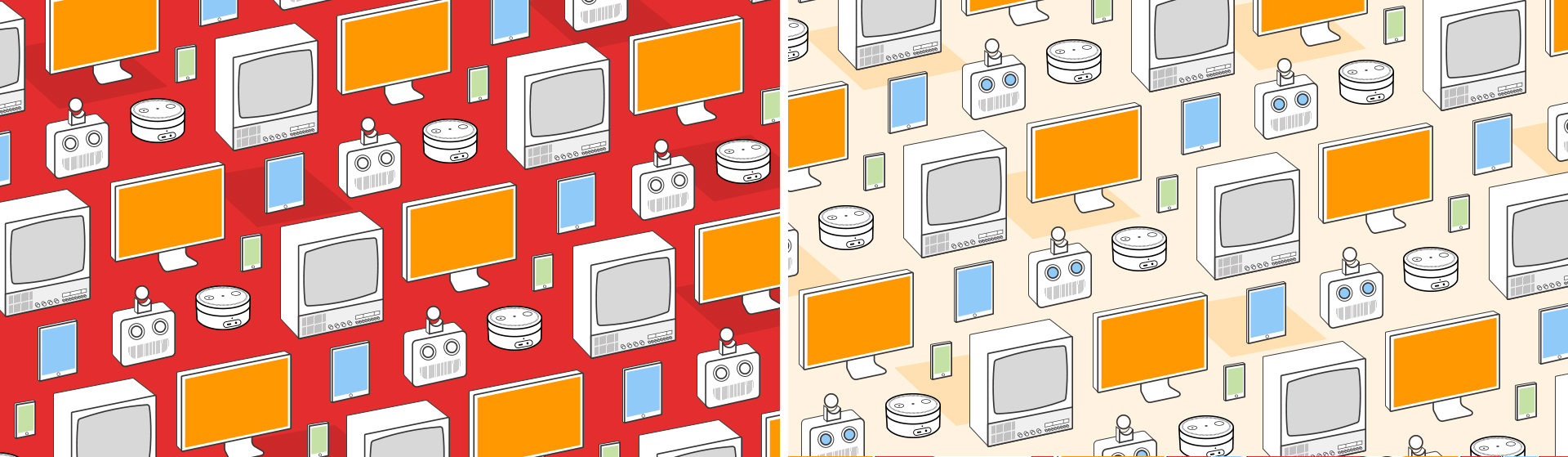 Two versions of the Alley repeating pattern, with robots, television screens, computers, Amazon Alexas, and smart devices overlaid on a red, and separate a pale orange background