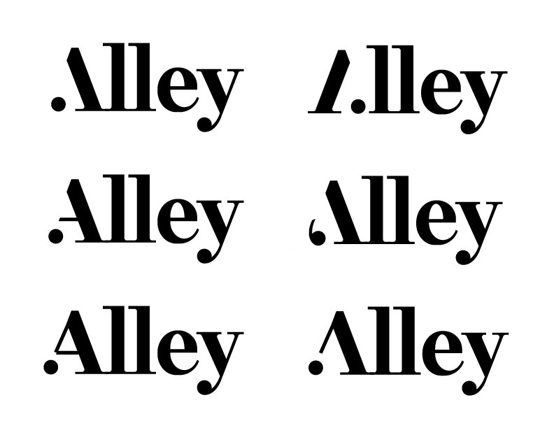 Different variations of A shapes followed by the letters LLEY