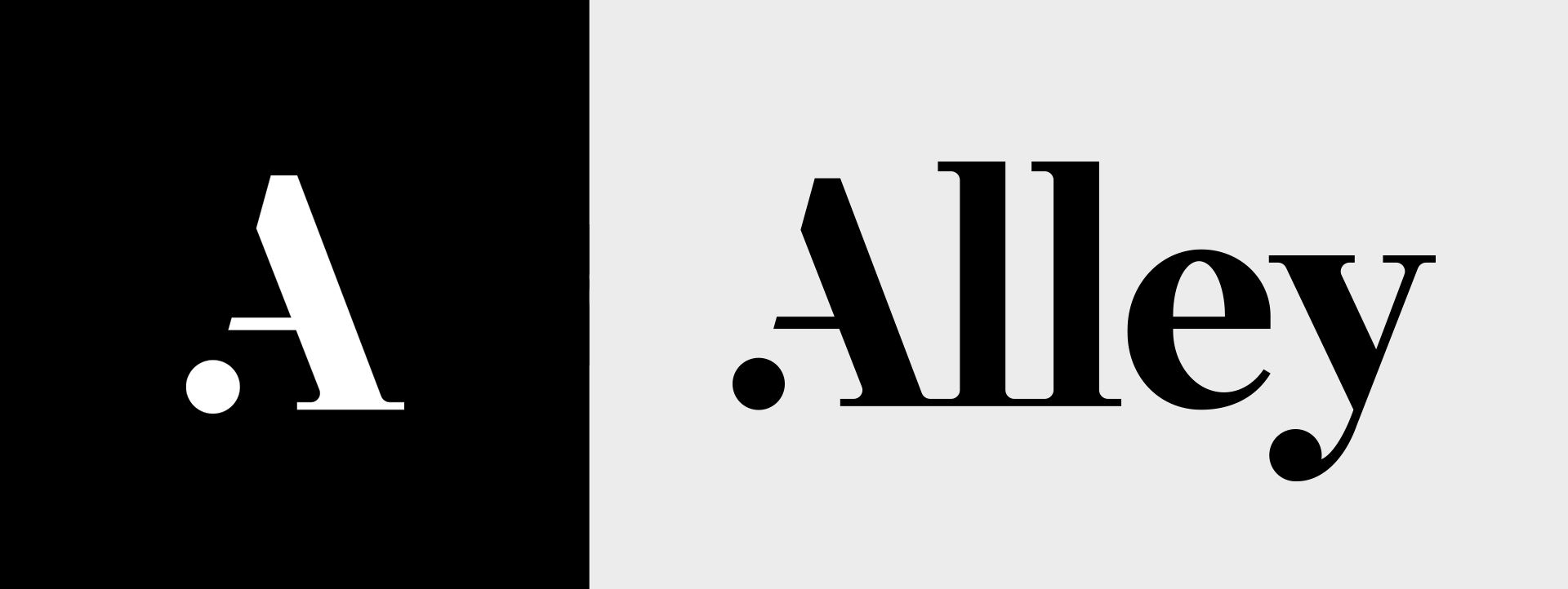 The Alley A logomark in white on black, next to the new Alley logotype of the word Alley in black on grey