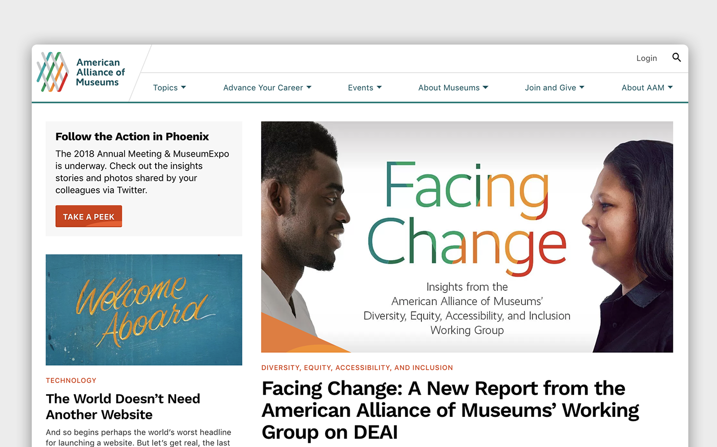 The main page of AAM with navigation, featured article, and additional content