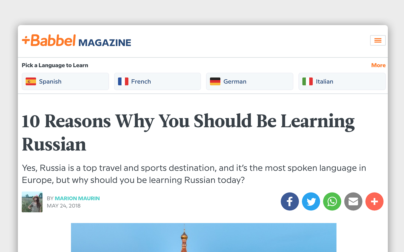 The Babbel Magazine front page with language learning links, a headline, lede, and social share links