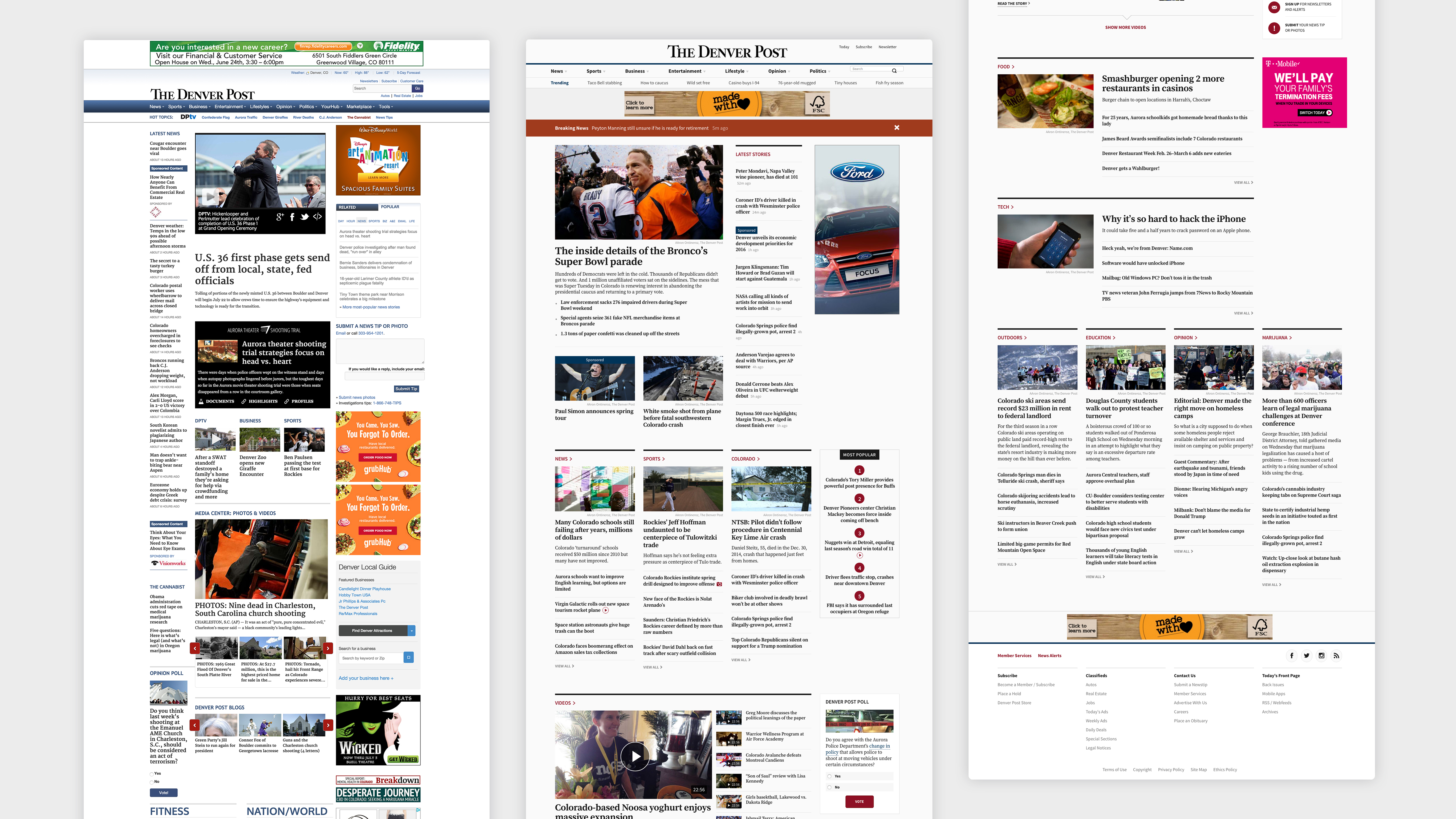A before and after of the Denver Post redesign, comparing tighter text and smaller images, as well as a blue color scheme, on the left, with the new version of larger images, more space for text to breathe, and a dark orange color scheme on the right