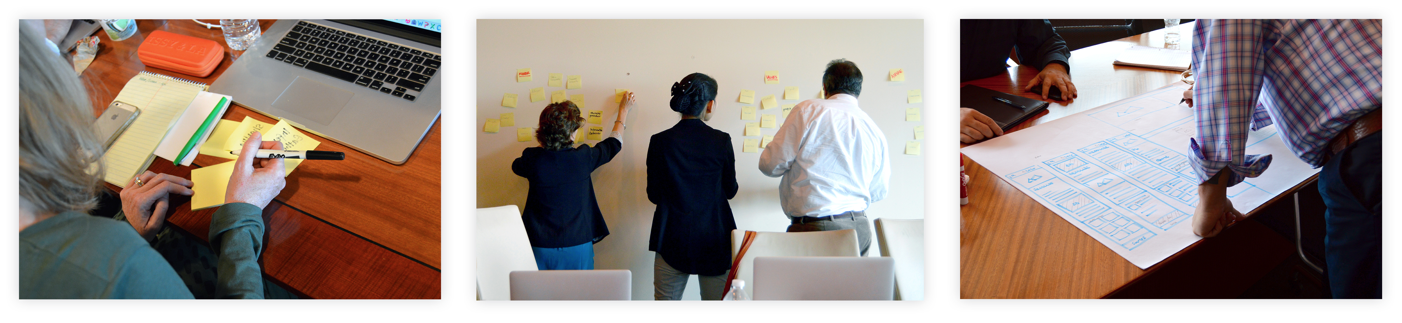 A set of three photos - a person writing on yellow post its with a sharpie, three people adding post its to a group on a white wall, and a person leaning over a blue highlighter sketch of a website