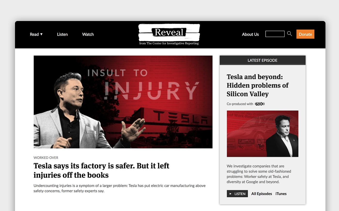 The main page of Reveal with navigation, featured article, and additional content