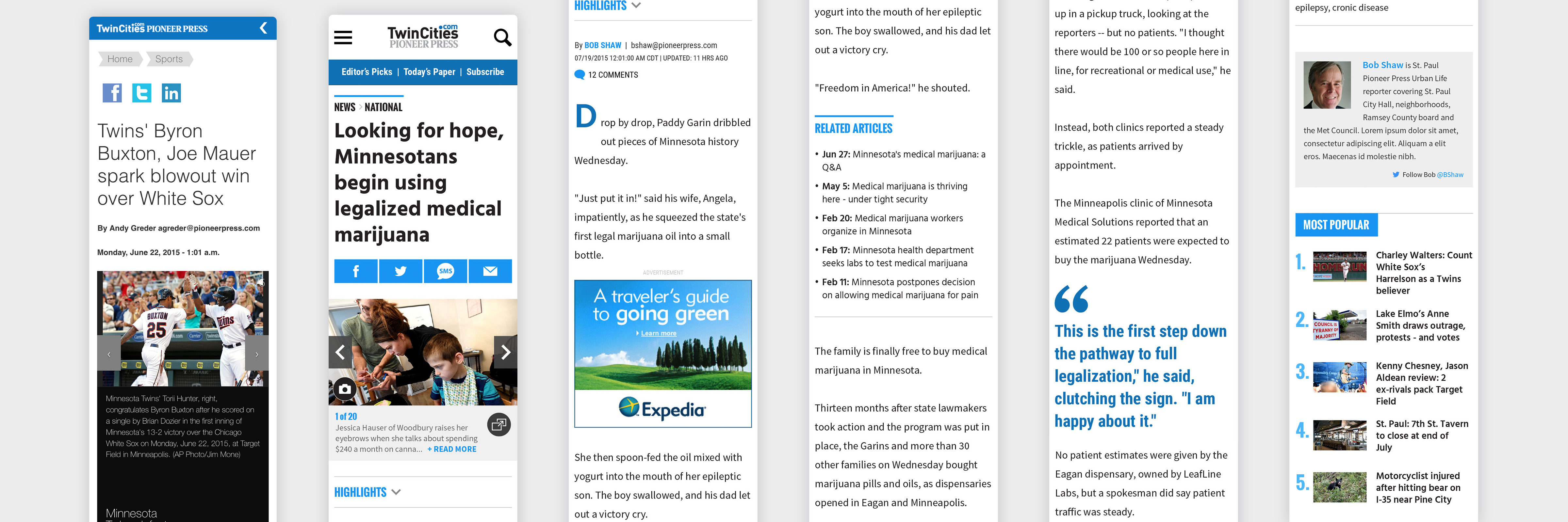 A series of thin screenshots of the mobile site, displaying headlines, images, drop quotes, related articles, and general link text, all in a light blue color scheme