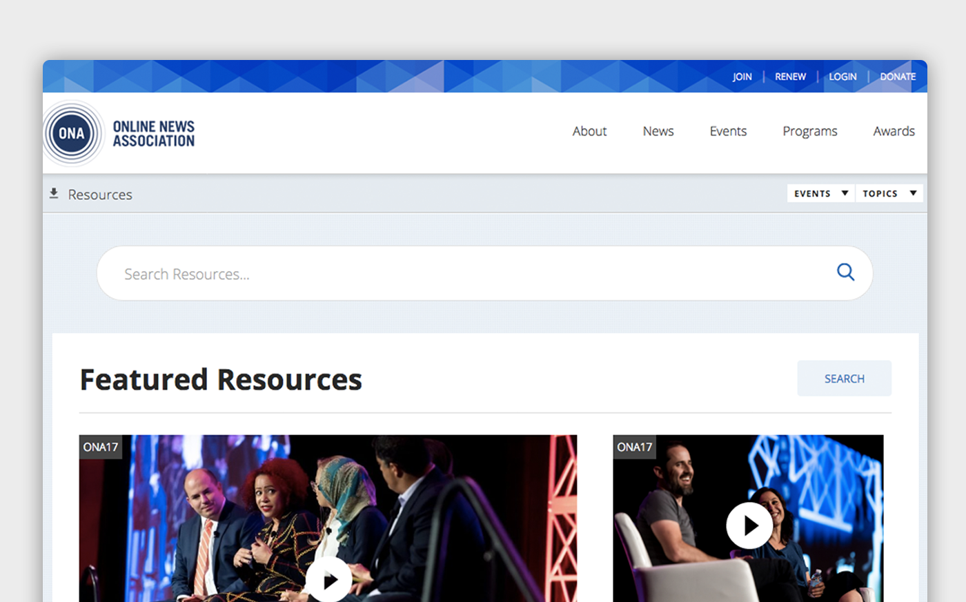 A screenshot of the Featured Resources portal page on the ONA site, with a search bar and navigation links