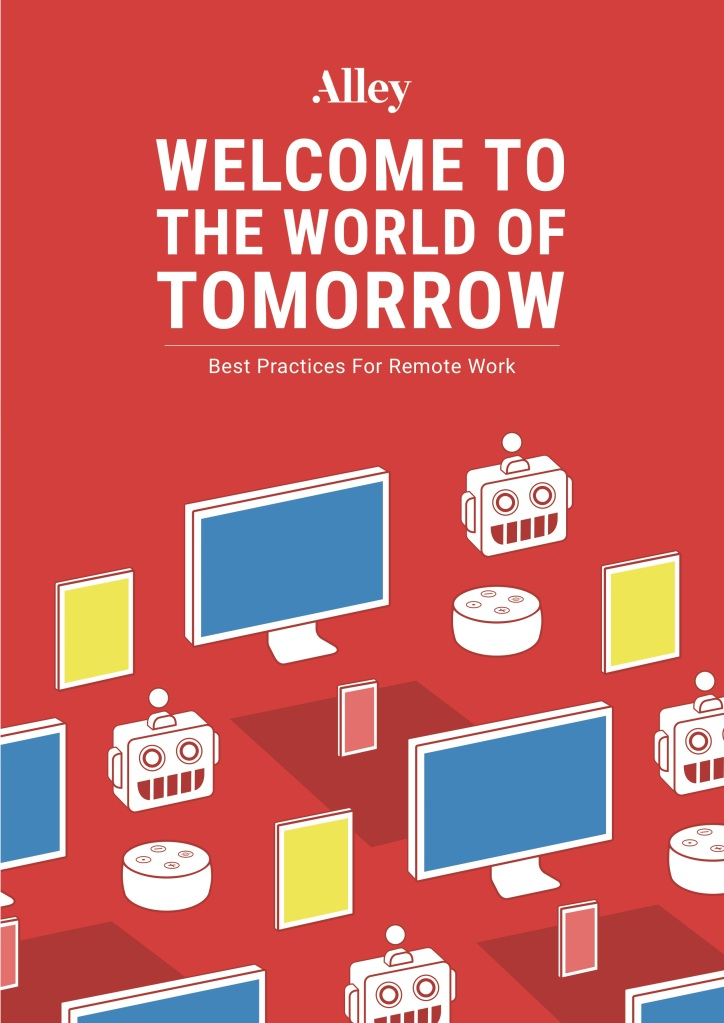 the cover of our ebook, with the title written in white on a field of red, decorated with computer screens, phones, other digital devices, and our alleybot robot