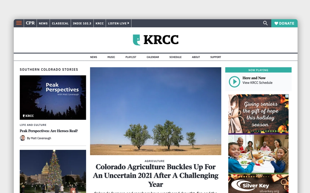 The main page of KRCC with navigation, featured article, and additional content