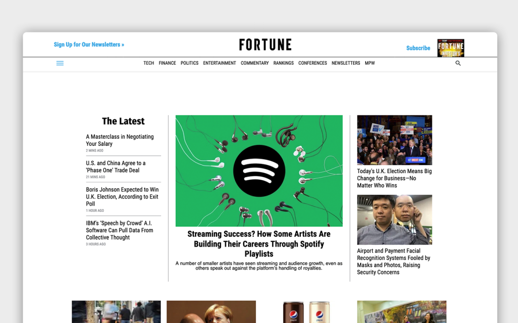 The main page of Fortune with navigation, featured article, and additional content