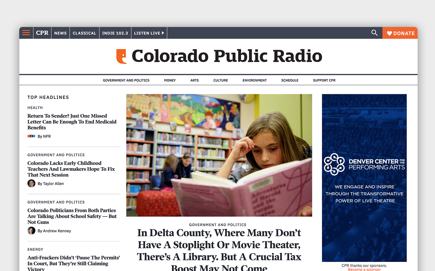 The main page of Colorado Public Radio with navigation, featured article, and additional content