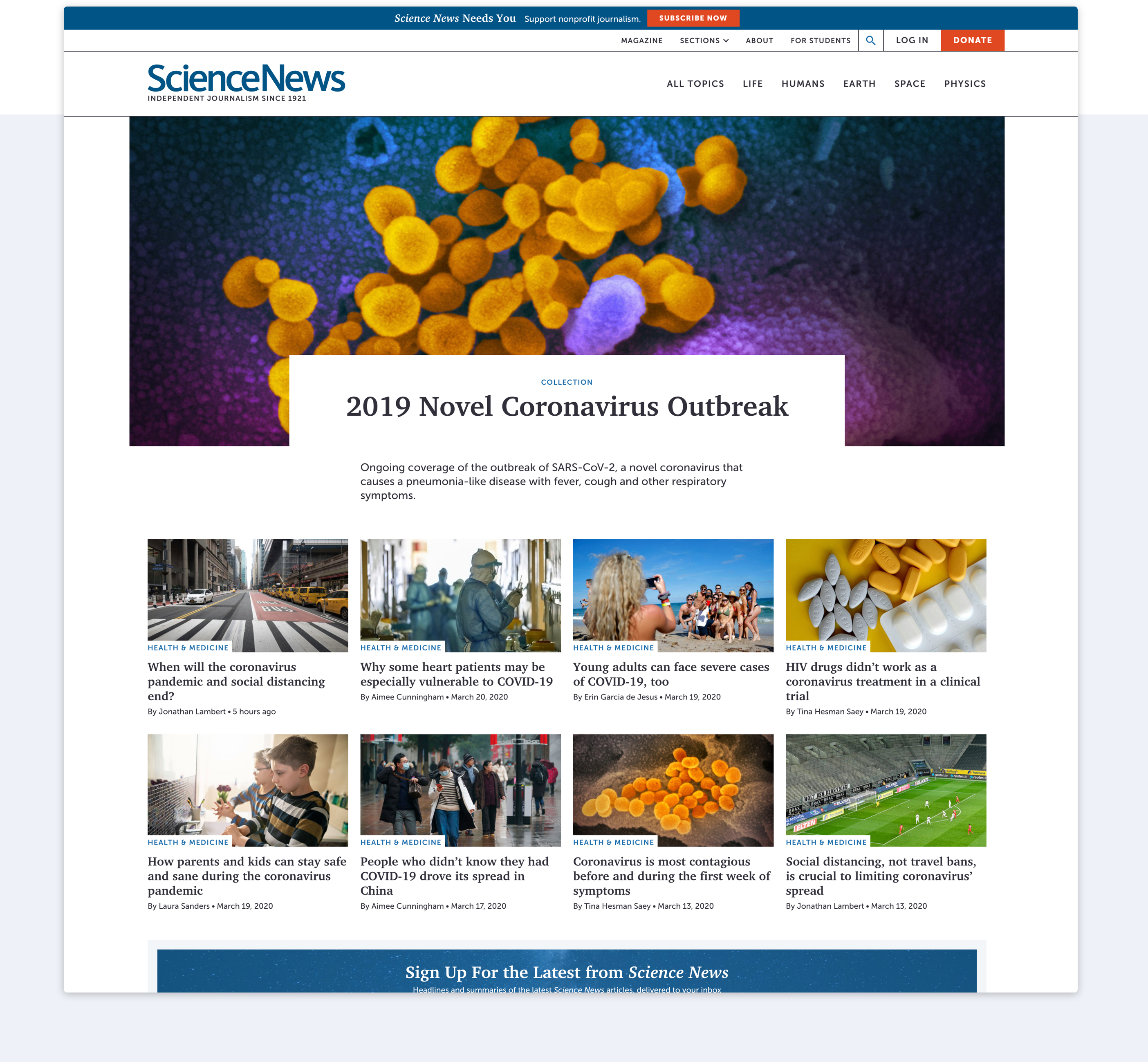 The main page of Science News with navigation, featured article, and additional content