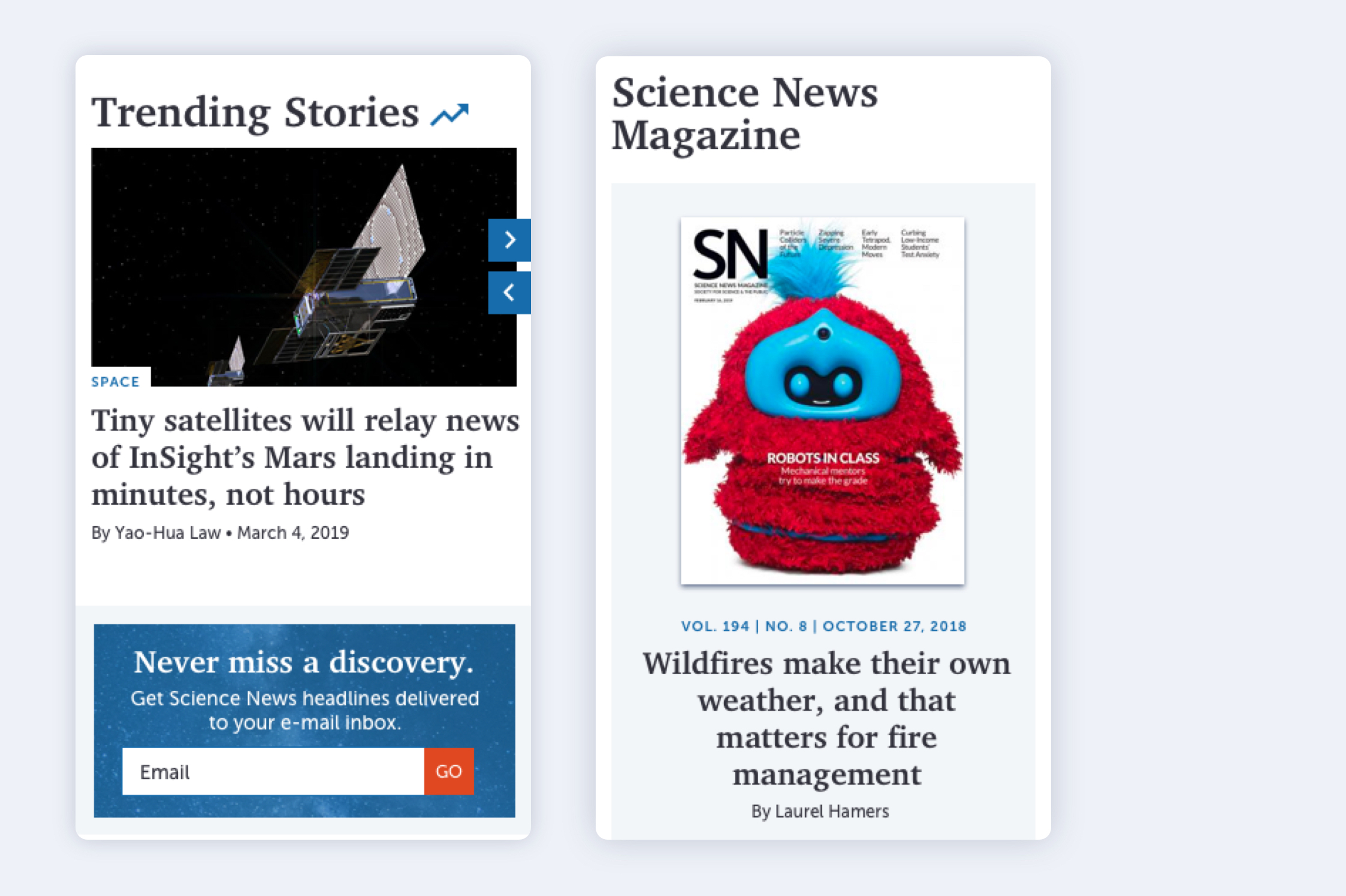 Two mobile views of the site, one with Trending Stories, a large image and headline, and a blue email subscribe callout, and the other the magazine front cover and top headline