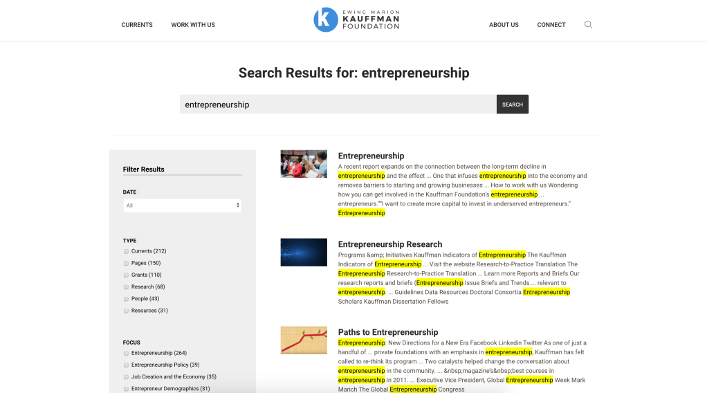 """A screenshot from the Kauffman search interface showing the results for the term """"entrepreneurship"""" with the search term highlighted in yellow in the results previews"""