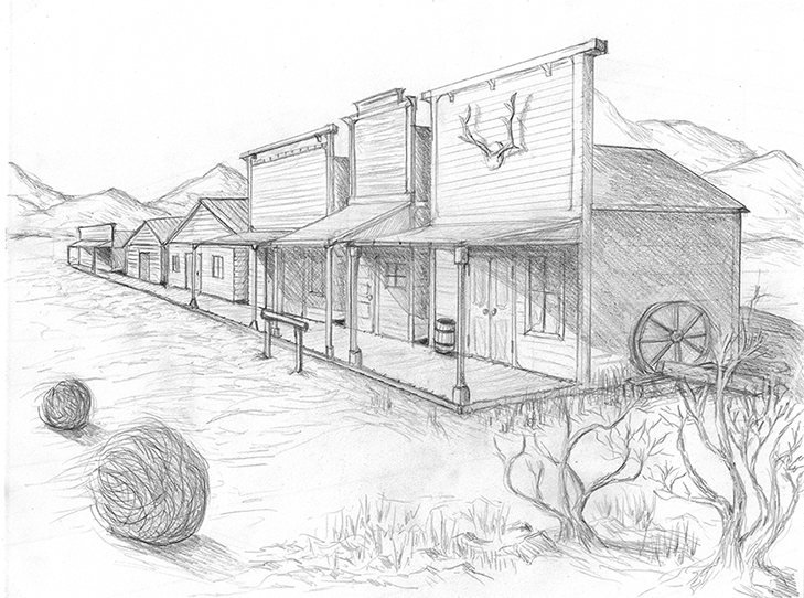 a pencil sketch of an old west street with wooden buildings heading off into the distance and tumbleweeds and sagebrush in front