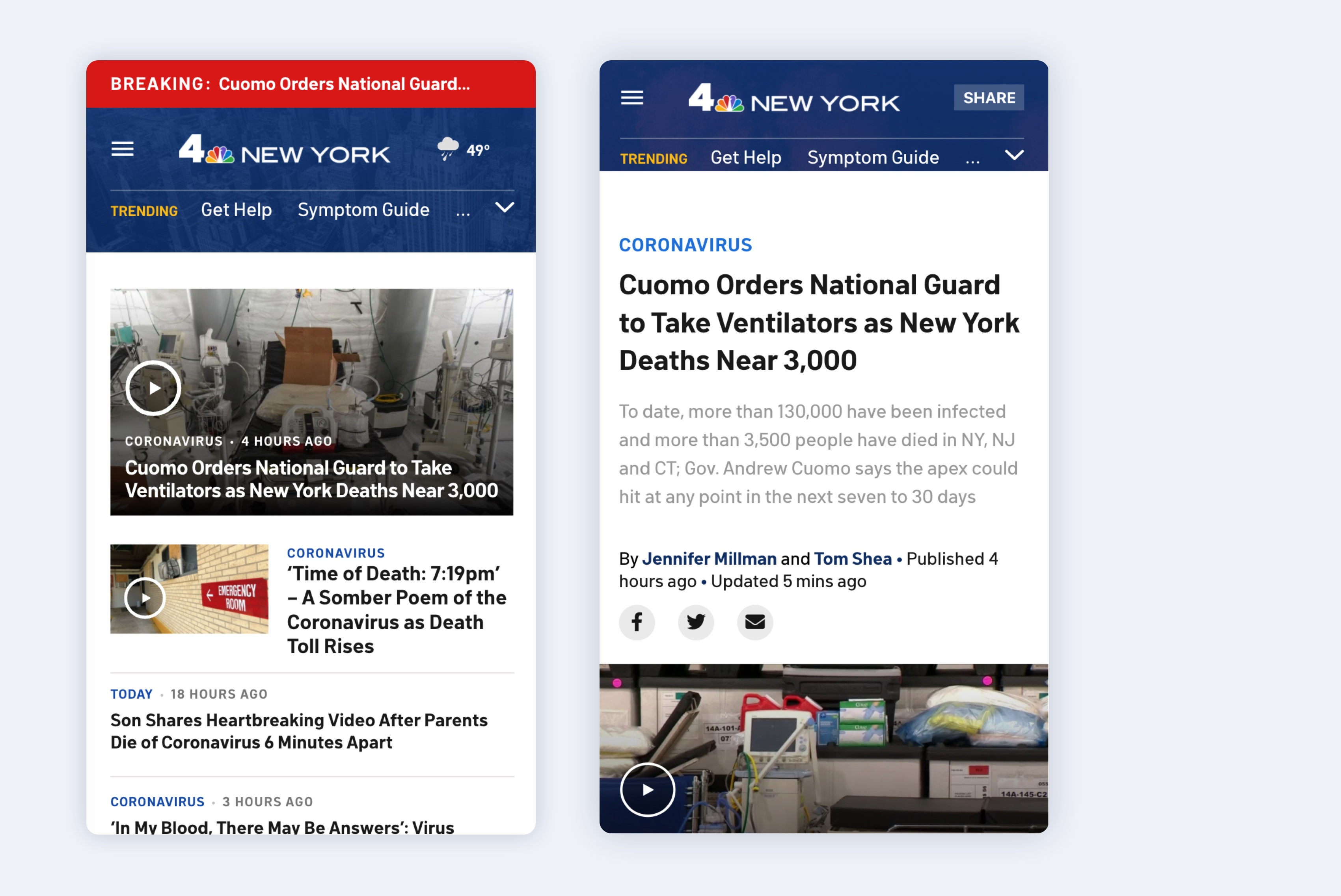 Mobile views of NBC 4 New York site with video thumbnails and bold headlines in a red and blue color scheme