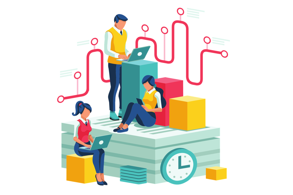 A graphic showing office workers sitting on blocks working.