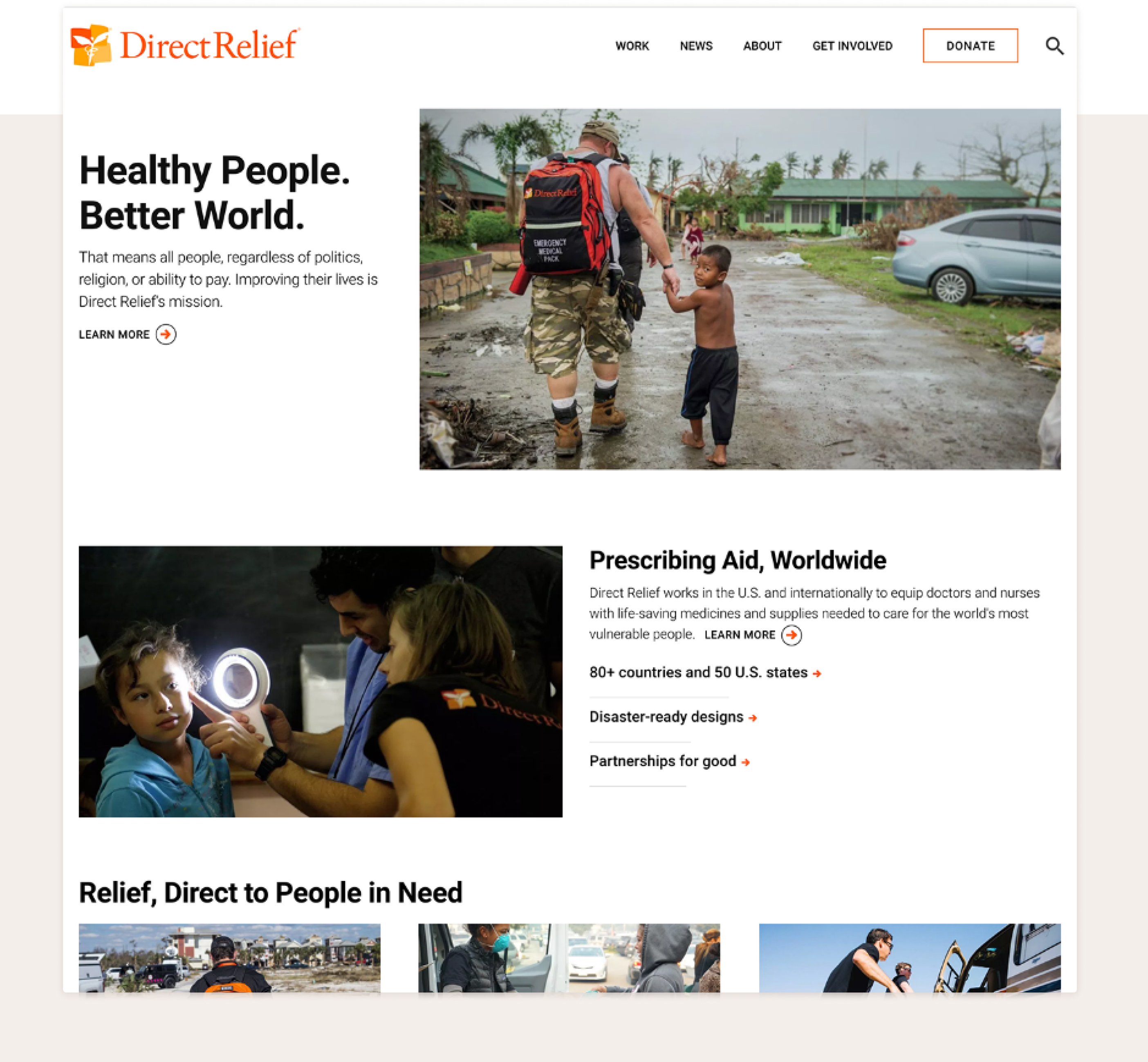 The main page of Direct Relief with navigation, featured article, and additional content