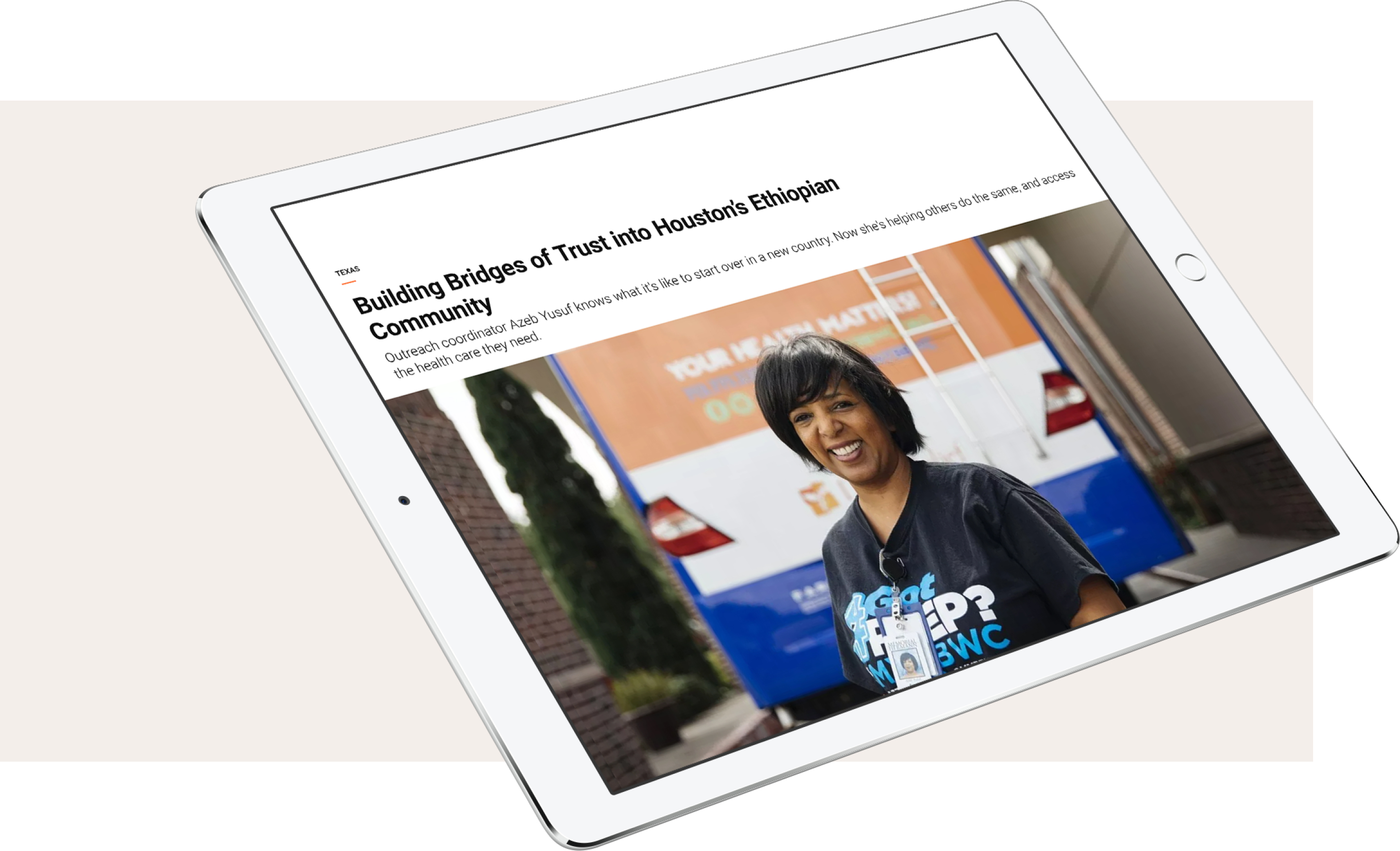 A headline and image displayed on a tablet screen