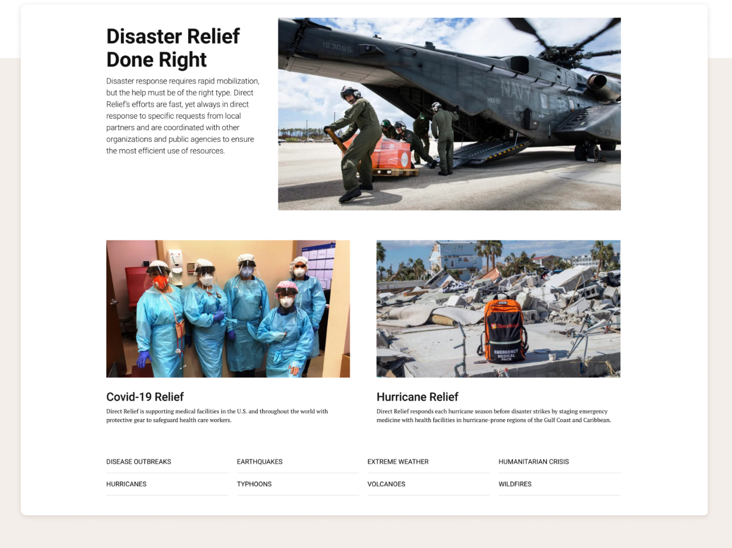 Three articles on the Direct Relief page, each with a large image, a bold headline, and a brief paragraph or sentence of information