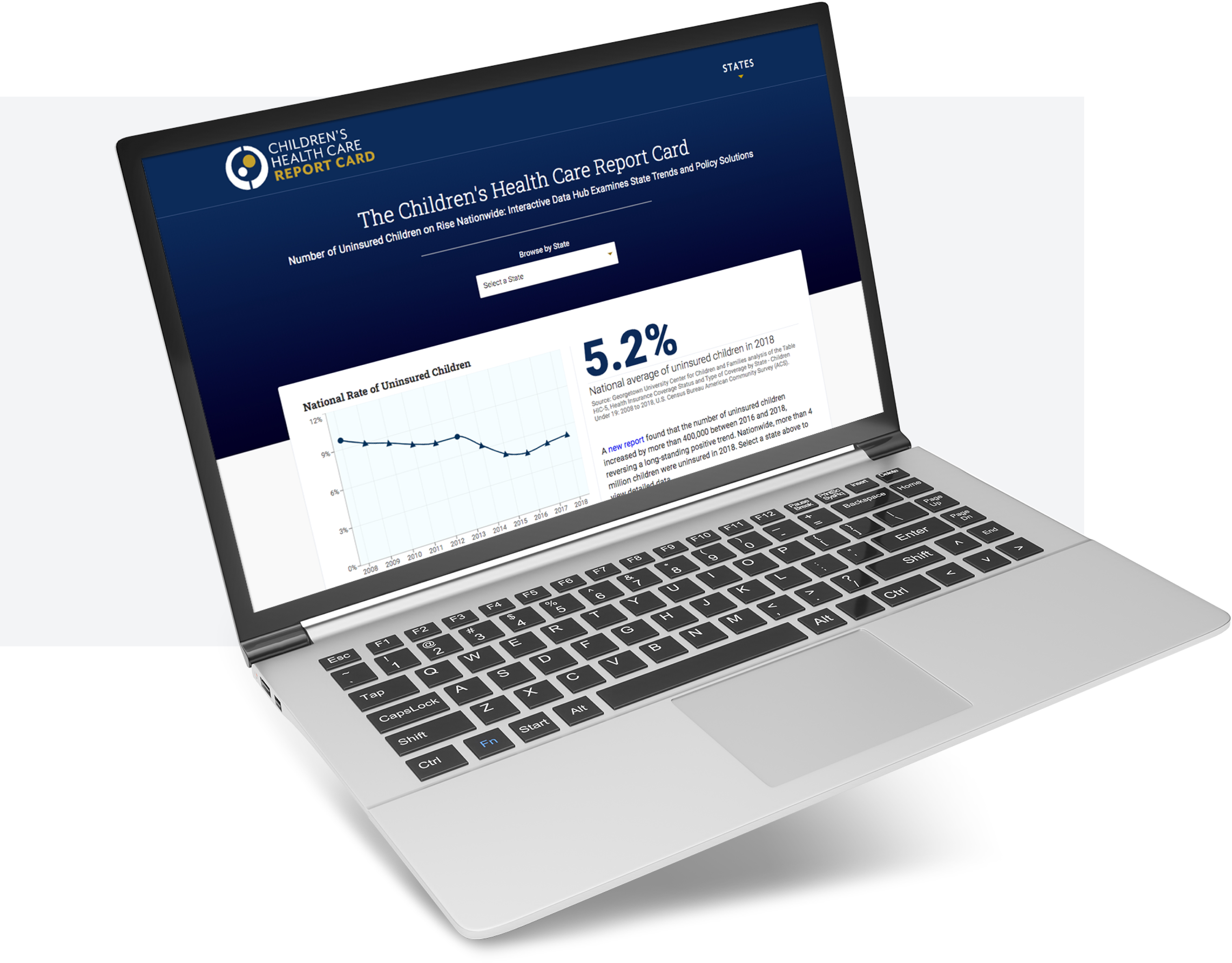 The Children's Health Care Report Card site with a blue header and a graph and statistic, displayed on a laptop screen