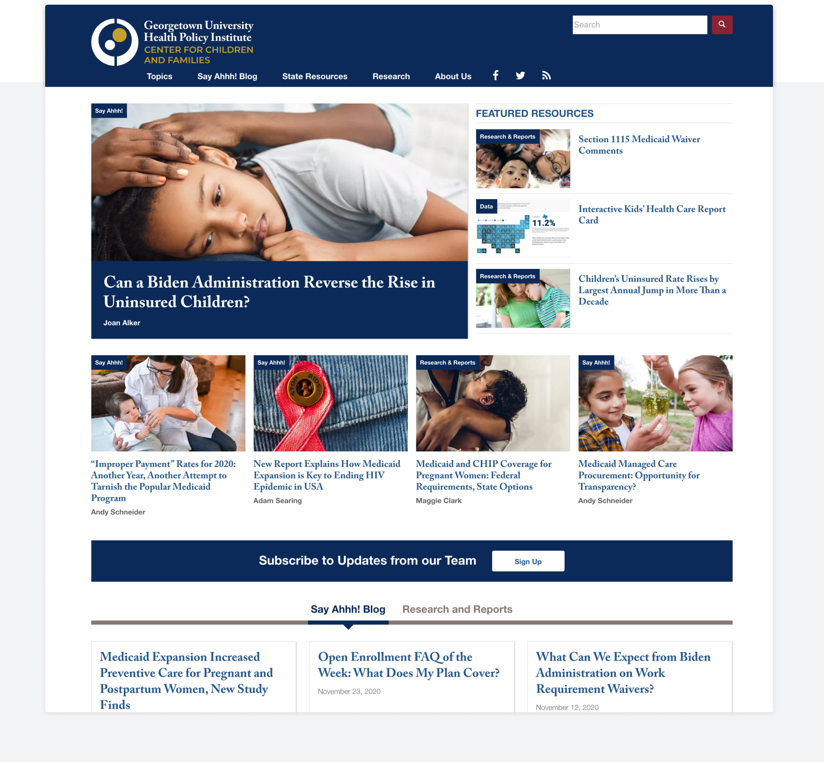 The main page of Georgetown CCF with navigation, featured article, and additional content